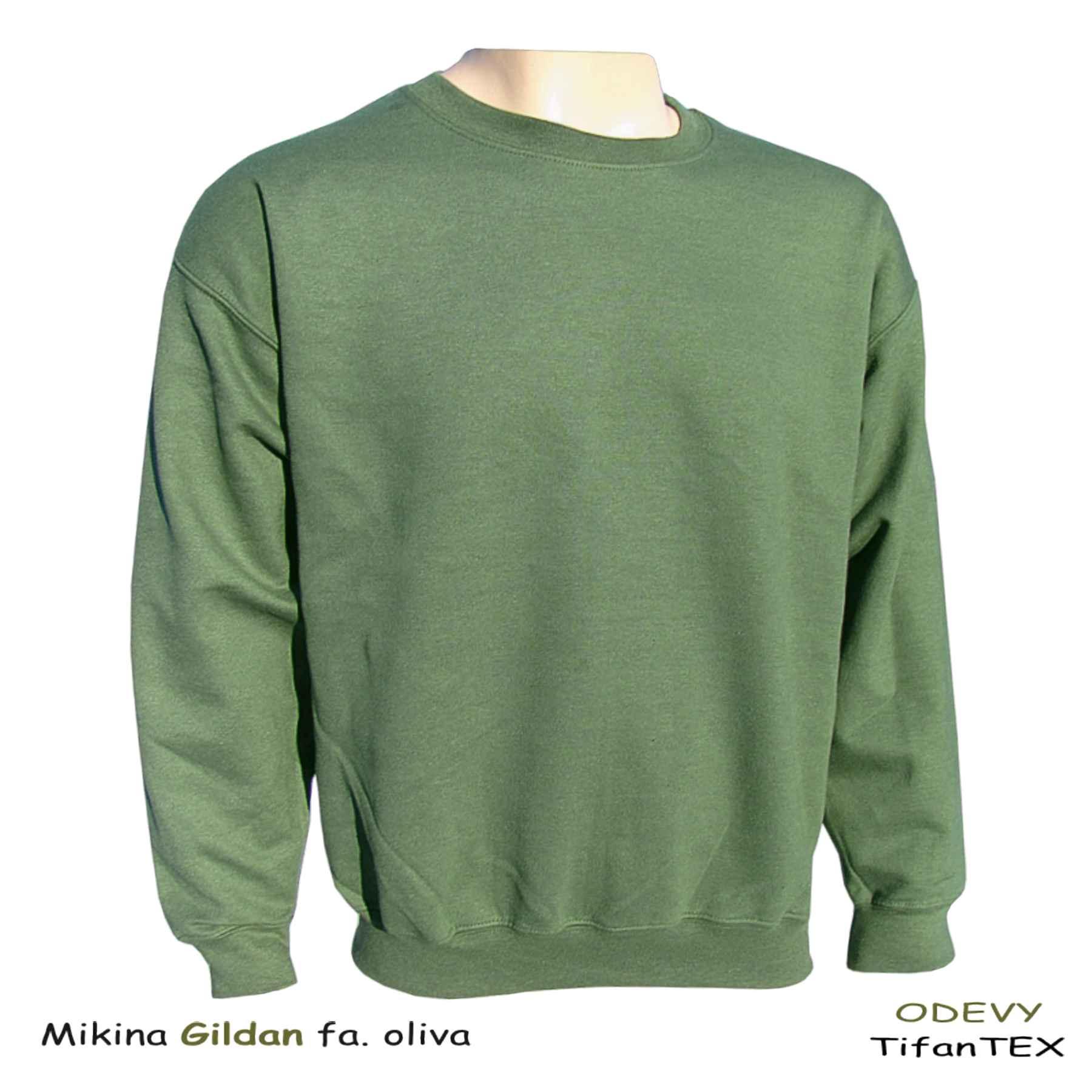 7c34f1598 ... Úpletová mikina pánska Gildan zelená army, Tifantex veľkoobchod
